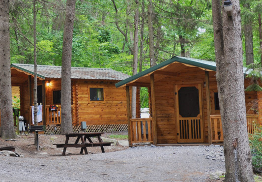 new ny york campground log cabin cabins state camping htm in