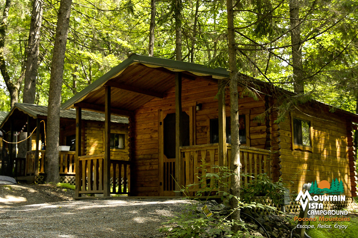 moments cabin vista the campground at camping mountains cabins poconos pocono in mountain family